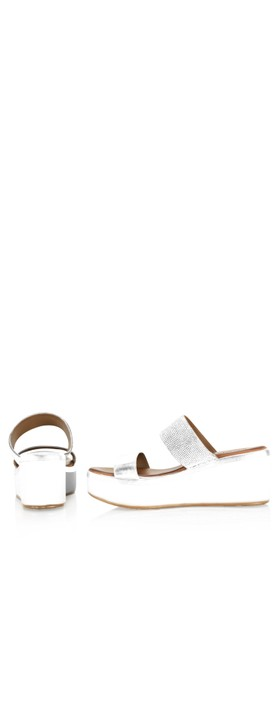 INUOVO Emma Wedge Sandal White