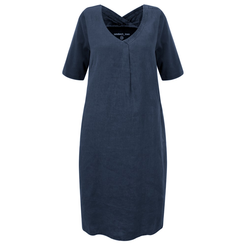 Sandwich Clothing Linen Tie Waist Dress Navy