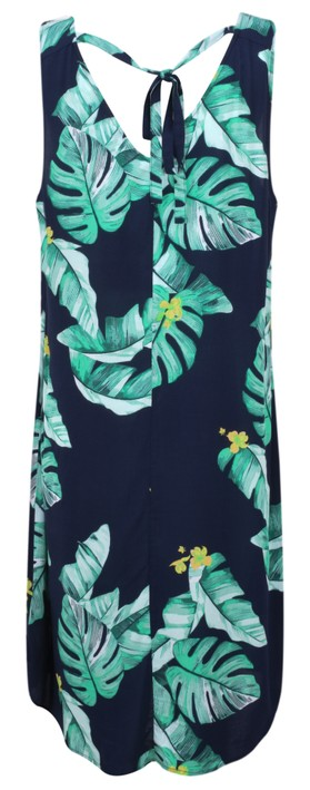 Sandwich Clothing Palm Leaf Print Dress Navy