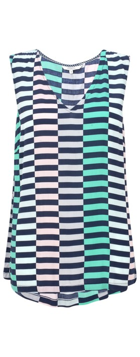 Sandwich Clothing Distorted Stripe Print Blouse Navy