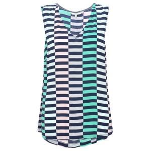 Sandwich Clothing Distorted Stripe Print Blouse