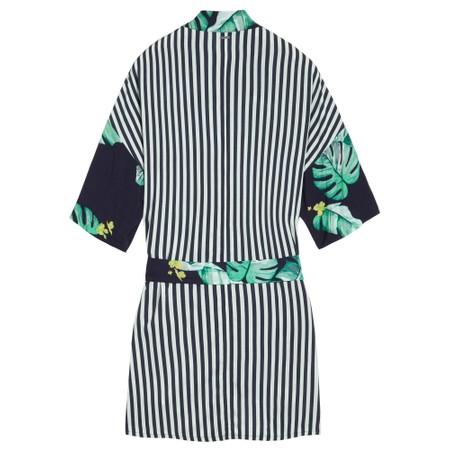 Sandwich Clothing Palm Leaf and Stripe Print Kimono - Blue