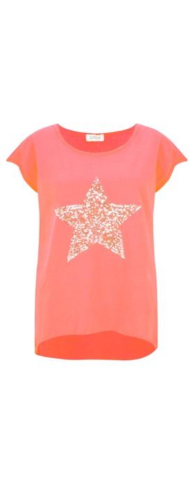 Luella Star Sequin T-Shirt Coral