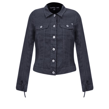 Sandwich Clothing Linen Ruffle Sleeve Jacket - Blue