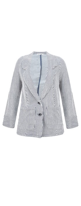 Sandwich Clothing Seersucker Stripe Jacket Navy