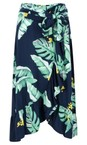 Sandwich Clothing Navy Palm Leaf Print Wrap Skirt