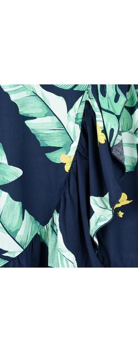 Sandwich Clothing Palm Leaf Print Wrap Skirt Navy