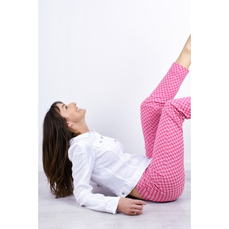 Robell Trousers Rose 09 Fleur de Lys Jacquard Cropped Trouser - Pink