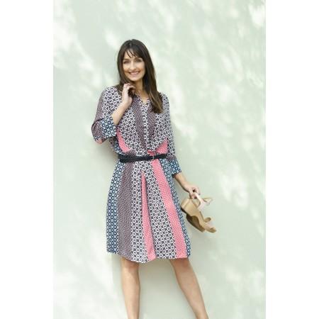 Sandwich Clothing Mosaic Stripe Print Shirt Dress - Pink