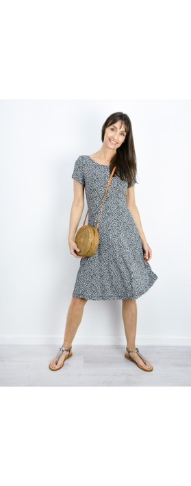 Sandwich Clothing Fit and Flare Dotted Flower Dress Forget-Me-Not