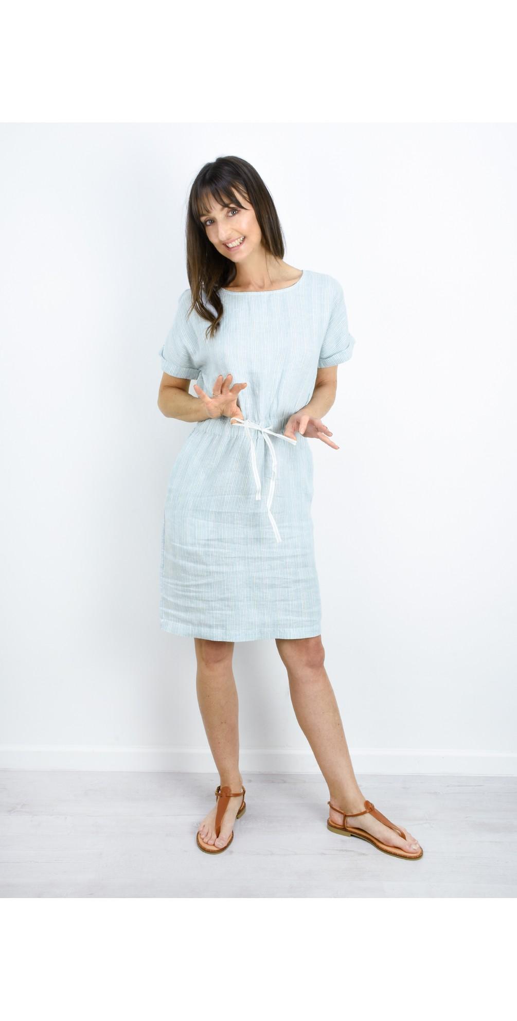 Fine Stripe Linen Dress main image