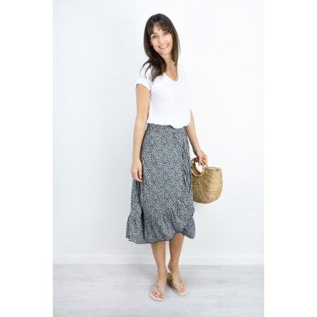 Sandwich Clothing Dotted Flower Wrap Skirt - Blue