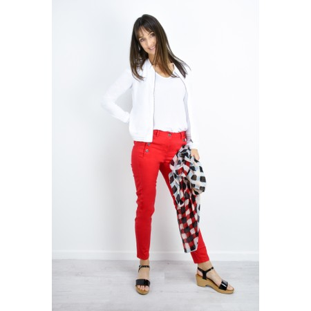 Sandwich Clothing Stretch Twill Cropped Button Detail Trousers - Red