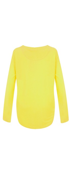 Sandwich Clothing Linen Mix Long Sleeve Top Warm Yellow