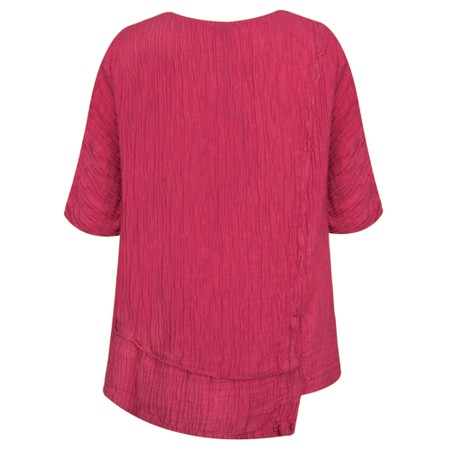 Grizas Jolanta Solid Crinkle Linen Top - Purple