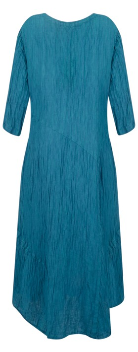 Grizas Erna Solid Crinkle Dress Turquoise
