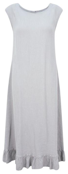 Grizas Juko Linen Frill Hem Dress Cool Taupe