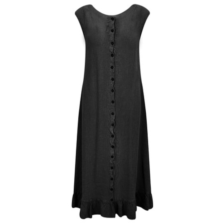 Grizas Juko Linen Frill Hem Dress - Black