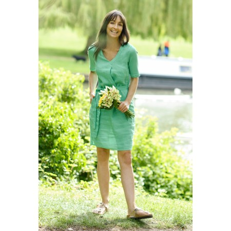 Sandwich Clothing Linen Tie Waist Dress - Green