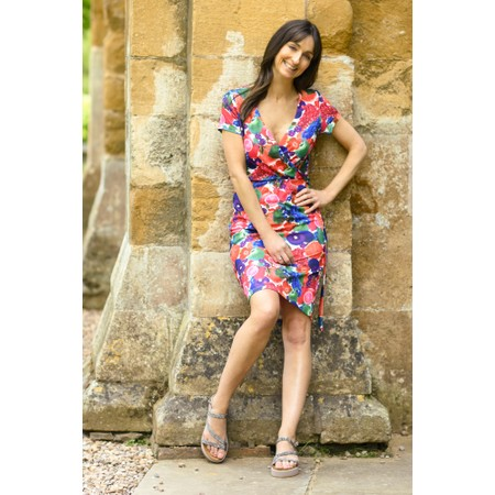 Smashed Lemon Fruit Wrap Dress - Multicoloured