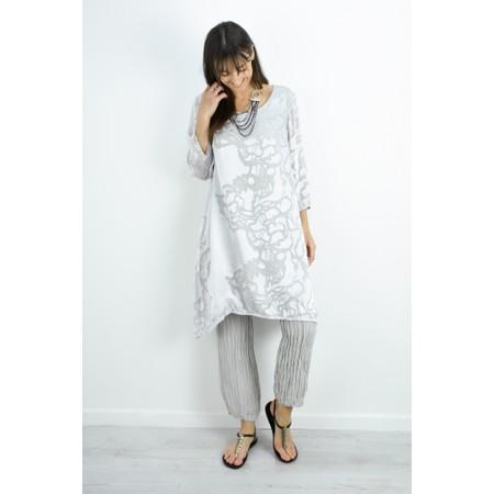 Grizas Liza Silk Devore Tunic Dress - Beige