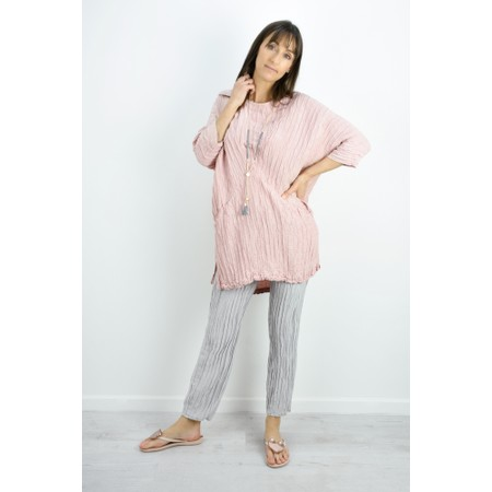 Grizas Nikita Long Silk Linen Tunic With Pockets - Pink