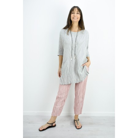 Grizas Nikita Long Silk Linen Tunic With Pockets - Beige