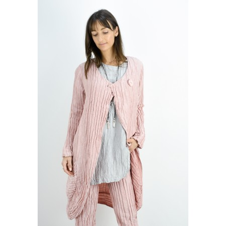 Grizas Gerda Solid Crinkle Long Button Neck Jacket - Pink