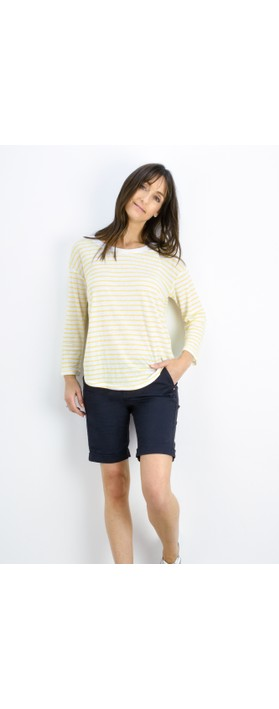 Sandwich Clothing Striped Linen Jersey Top Blazing Yellow