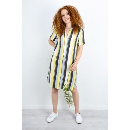 Sandwich Clothing Striped Shirt Style Dress - Yellow