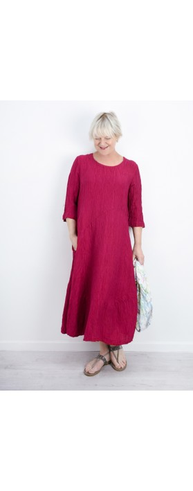 Grizas Erna Solid Crinkle Dress Berry