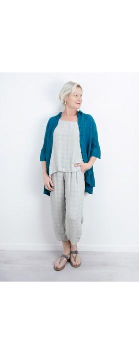 Grizas Urte Crinkle Linen Shirt Turquoise