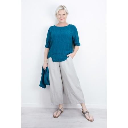 Grizas Jolanta Solid Crinkle Linen Top - Turquoise