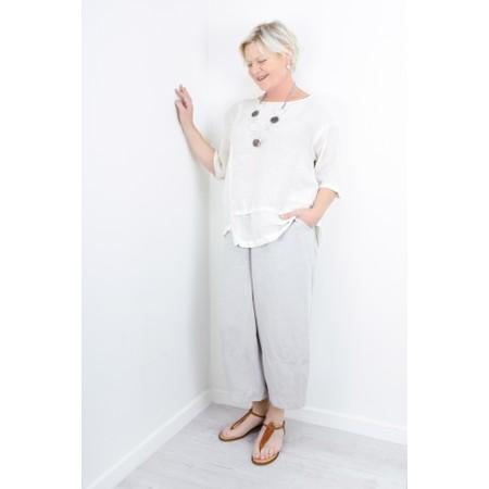 Grizas Jolanta Solid Crinkle Linen Top - White