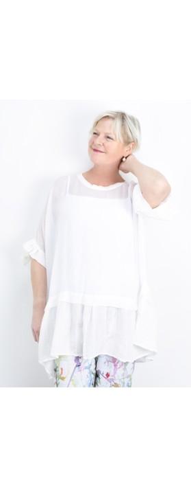 Grizas Brigita Frill Hem Top White