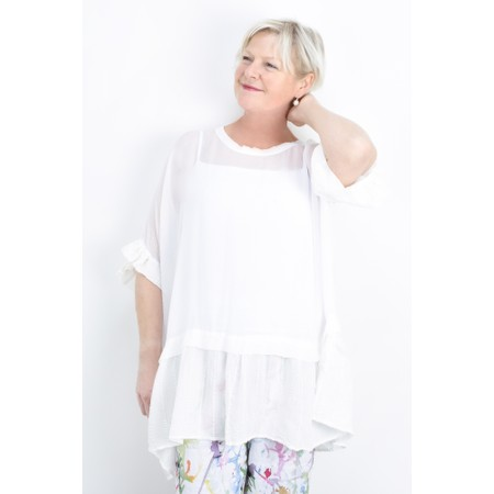 Grizas Brigita Frill Hem Top - White