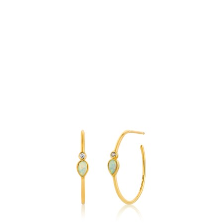 Ania Haie Opal Colour Raindrop Hoop Earrings - Gold