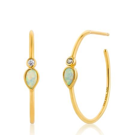 Ania Haie Opal Colour Raindrop Hoop Earrings - Gold