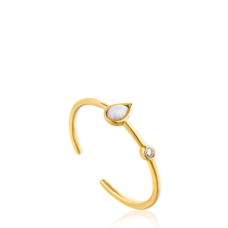 Ania Haie Opal Colour Raindrop Adjustable Ring - Gold