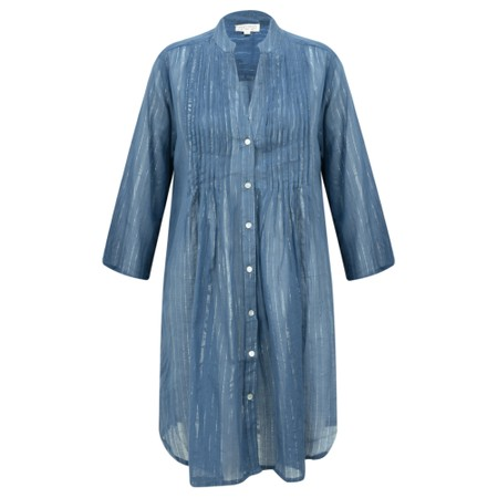 Lara Ethnics Katniss Mao Shirt with Lurex Thread - Blue