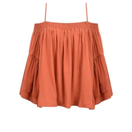 Lara Ethnics Mokokai Summer Crepe Bardot Top - Red