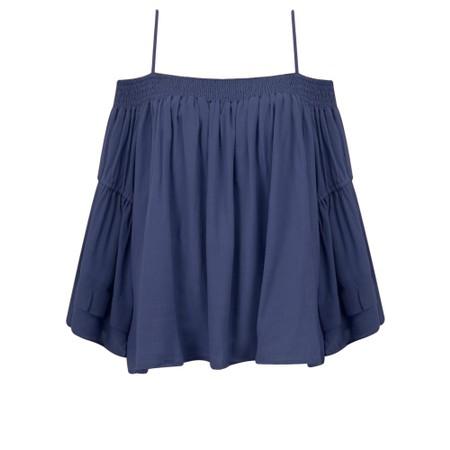 Lara Ethnics Mokokai Summer Crepe Bardot Top - Blue