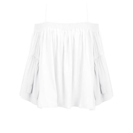 Lara Ethnics Mokokai Summer Crepe Bardot Top - White