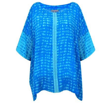 Sahara Two-Tone Graphic Print Top - Blue