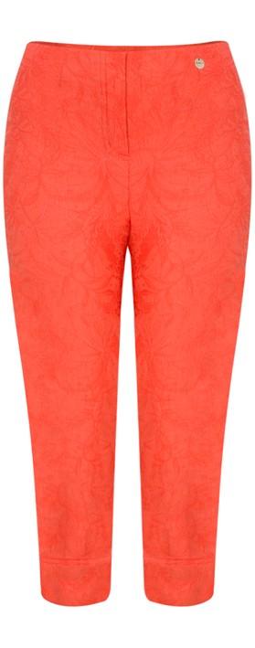 Robell Marie 07 Orange Jacquard Crop Trouser Orange