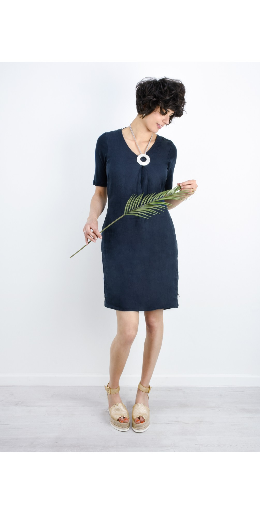 Linen Tie Waist Dress main image