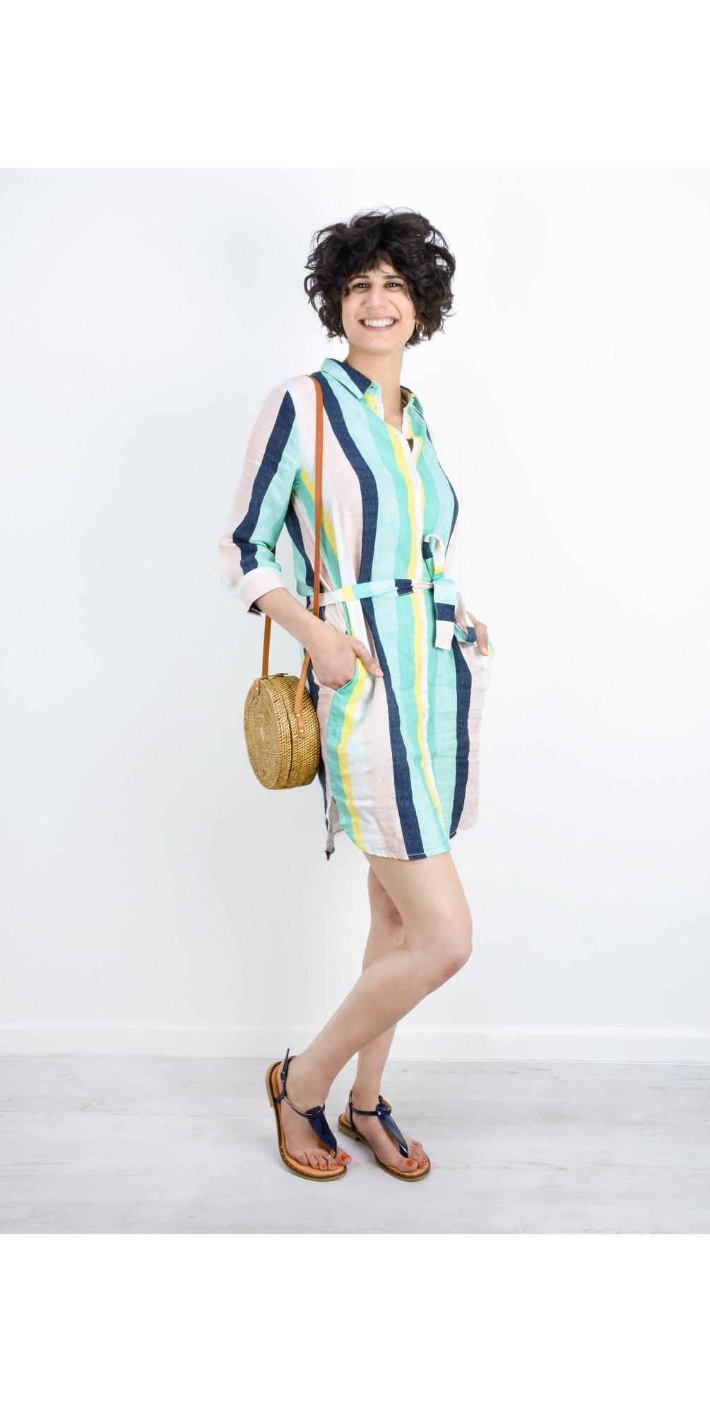Bold Stripe Linen Shirt Dress main image