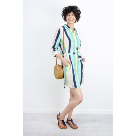 Sandwich Clothing Bold Stripe Linen Shirt Dress - Green