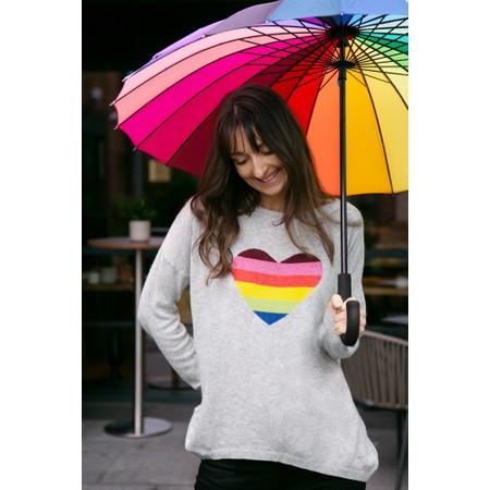 Luella Rainbow Heart Cashmere Blend Jumper - Grey