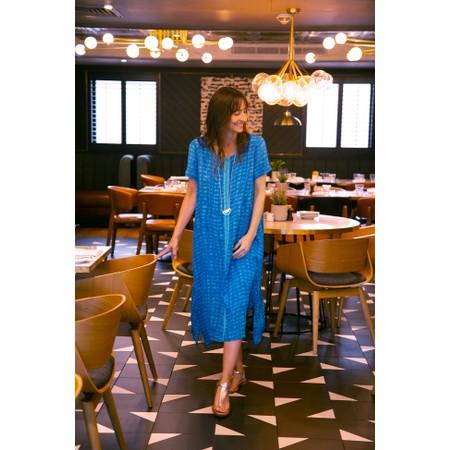 Sahara Two-Tone Graphic Print Dress - Blue